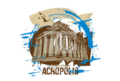 Acropolis. Athens, Greece city design. Hand drawn illustration.