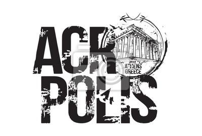 Acropolis. Athens, Greece logo design. Hand drawn illustration.
