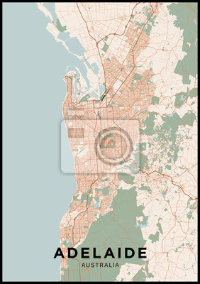 Adelaide (Australia) city map. Poster with map of Adelaide in color. Scheme of streets and roads of Adelaide.
