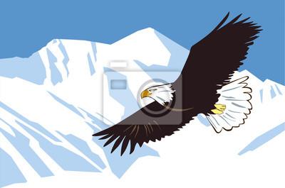 Adler fliegt gegen den Hintergrund von schneebedeckten Bergen. Vektorzeichnung