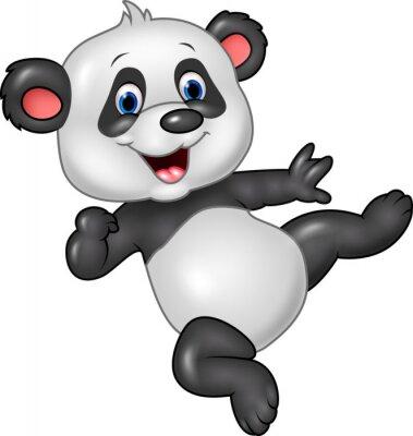 Sticker Adorable Baby Panda isoliert auf weißem Hintergrund