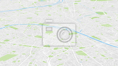 Aerial view City map Paris, color detailed plan, urban grid in perspective
