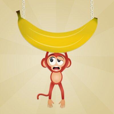 Sticker Affe mit Banane