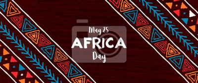 Sticker Africa Day banner of traditional african art