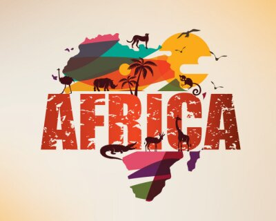 Sticker Africa travel map, decorative symbol of Africa continent with wild animals silhouettes