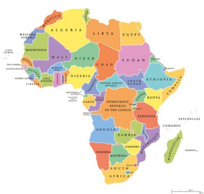 Sticker Afrika einzigen Staaten politische Karte. Jedes Land mit eigenem Farbraum. Mit nationalen Grenzen auf weißem Hintergrund. Kontinent einschließlich Madagaskar und Insel Nationen. Englische Beschriftung