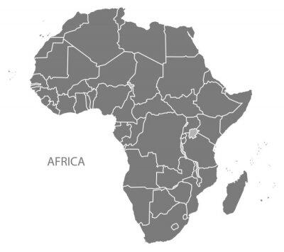 Sticker Afrika Karte mit Ländern grau