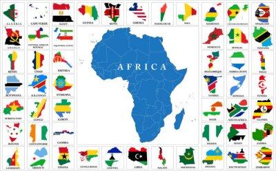 Sticker Afrika-Länder kennzeichnen Karten