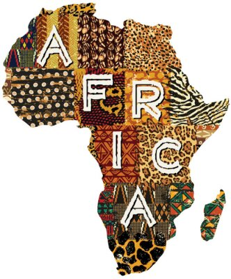 Sticker Afrika Patchwork Vektorkarte
