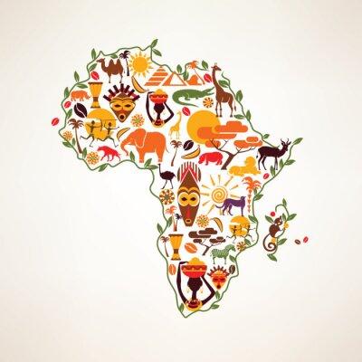 Sticker Afrika Reise-Karte, decrative Symbol von Afrika Kontinent mit eth
