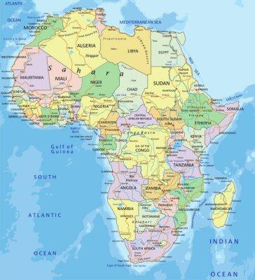 Sticker Afrika - sehr detaillierte editierbare politische Karte.