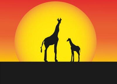 Sticker Afrikanische Giraffen in Silhouette Landschaft