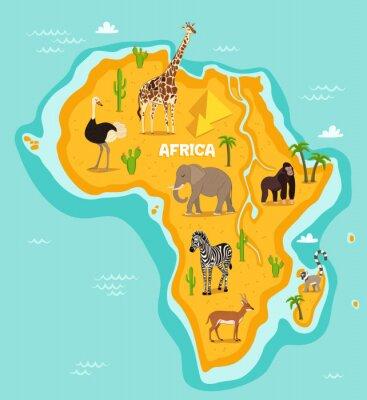 Sticker Afrikanische Tierwelt Vektor-Illustration. Afrikanische Fauna, Strauß, Giraffe, Elefant, Affe, Zebra, Lemur, Antilope im Cartoon-Stil. Afrikanischen Kontinent im blauen Ozean mit wilden Tieren und Pfl
