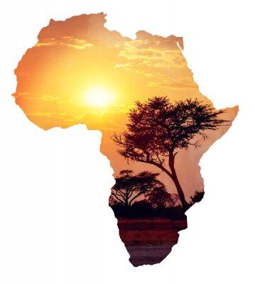 Sticker Afrikanischen Sonnenuntergang mit Akazie, Karte von Afrika Konzept