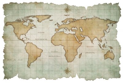 Sticker aged world map isolated on white