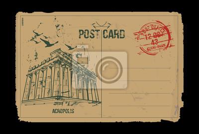 Akropolis. Athen, Griechenland. Postkarten-Design. Hand gezeichnete Illustration.