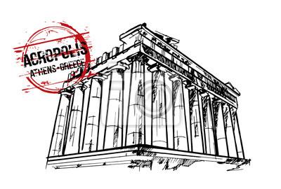 Akropolis. Athen, Hand gezeichnete Illustration.
