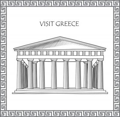 Sticker Akropolis in Athen, Griechenland. Besuchen Sie Griechenland-Karte. Ornamental traditionellen griechischen Vektor-Rahmen.