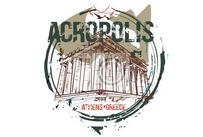 Akropolis. Stadtdesign Athen, Griechenland. Hand gezeichnete Illustration.
