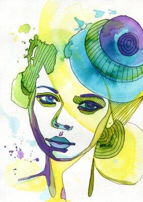 Sticker Akwarelowy portret kobiety