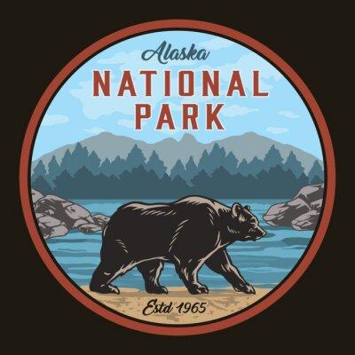 Sticker Alaska national park round colorful label
