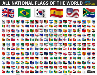 Sticker All national flags of the world . Waving flag design . Vector .