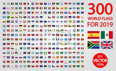 Sticker All official national flags of the world . circular design