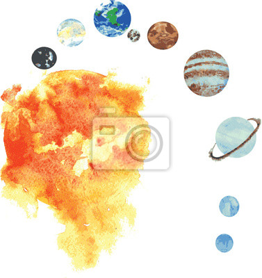 Sticker alle Planeten des Sonnensystems, Hand -Rundstahl, gezogen -Rundstahl Aquarell - S