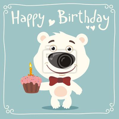 Alles Gute Zum Geburtstag Lustige Eisbar Mit Geburtstagstorte