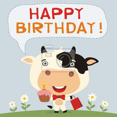 Alles Gute Zum Geburtstag Lustige Kuh Mit Geburtstagstorte Und