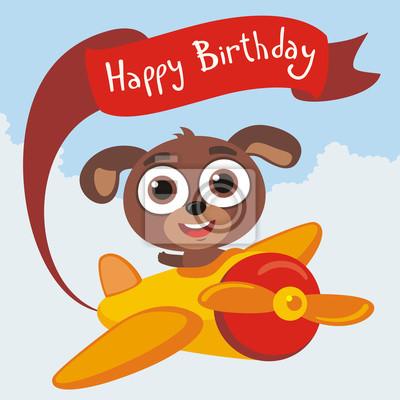 Alles Gute Zum Geburtstag Lustige Welpen Fliegt Auf Flugzeug