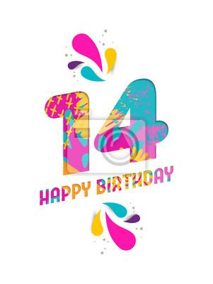 Alles Gute Zum Geburtstag 14 Jahre Papier Schneiden Grußkarte