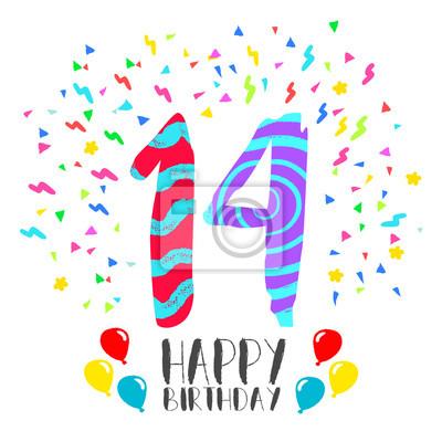 Alles Gute Zum Geburtstag Für 14 Jährige Party Einladungskarte