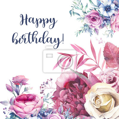 alles gute zum geburtstag karte mit aquarell blumen blumenstrau notebook sticker wandsticker. Black Bedroom Furniture Sets. Home Design Ideas