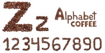 Sticker Alphabet aus Kaffeebohnen isoliert