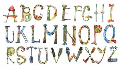 Sticker Alphabet, buchstabe, aquarell