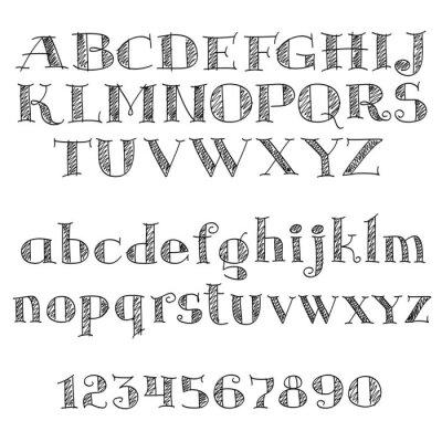 Sticker Alphabet Buchstaben Schriftart mit Kreuzschraffur