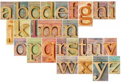 Sticker Alphabet in Hhhochhdruckholztypen