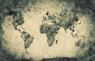 Sticker Alte, alte Weltkarte. Bleistiftskizze, Jahrgang Hintergrund