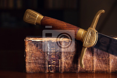 Sticker Alte Bibel mit Schwert