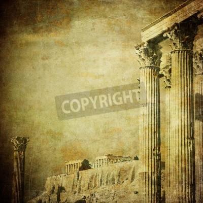 Sticker Alte Bild der griechischen Spalten, Akropolis, Athen, Griechenland