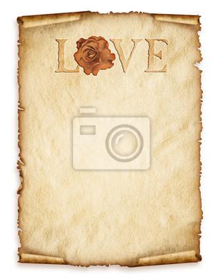 Alte Blatt Papier, altes Papier mit Rose und Liebe