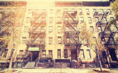Sticker Alte Film Retro-Stil Foto von New York Street, USA.
