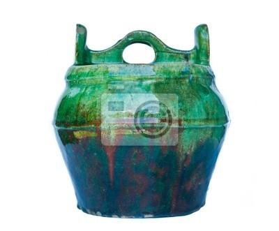 alte grüne Farbe Keramik auf weißem Hintergrund