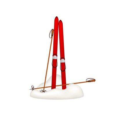 Sticker Alte hölzerne Skis und alte Skistöcke stehen im Schnee