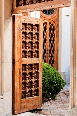 Sticker Alte Hölzerne Tür