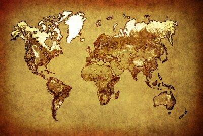 Sticker alte Karte Welt auf altem Papier