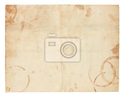 Sticker Alte leere Papier mit Kaffee Ring Stains