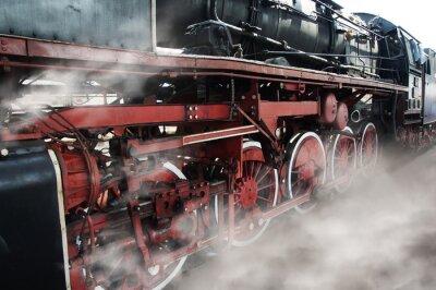 Sticker Alte Lokomotive Rädern