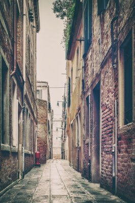 Sticker Alte Straße in Venedig, Italien.